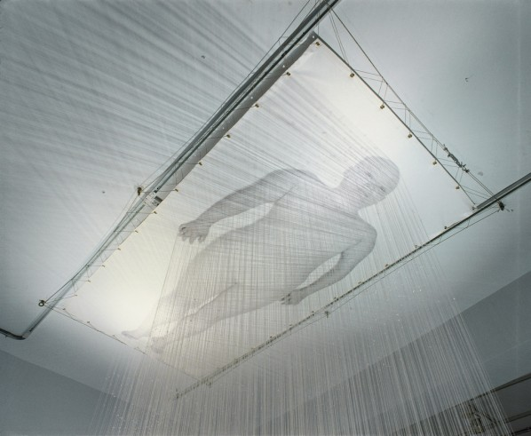Lin Tianmiao, Dreamer, 2000. Cotton thread, white fabric, digital photograph; Courtesy of Asia Society Museum