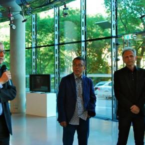 Peter Pakesch (Kunsthaus Director), Liu Xiaodong, Gunther Holler-Schuster (Exhibition Curator)