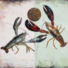 Shen Hao --Playing Basketball; Oil on canvas, 80x100cm