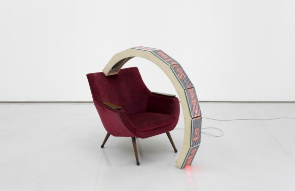 Yang Jian-Want to Leave, 2010; LED Light, Chair, 80x25x106cm