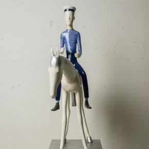 Yu Fan-White Horse and Sailor No.3, 2009; copper, 60×30×70cm