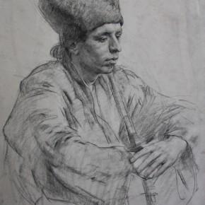 портрет молодого человека в форме казака 90х70, бум.уголь 2010г.