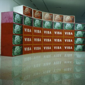 "06 Wang Guangyi, ""VISA Project""; Installation, Artificial Fur, Pictures, Wooden Boxes, Screen"
