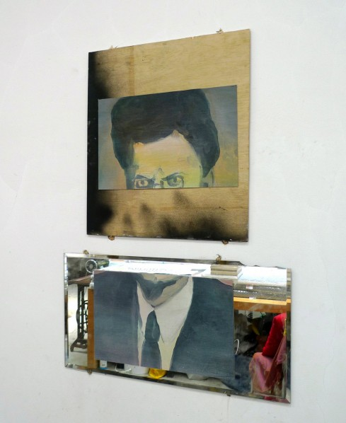 A Face in Two Halves, 2012; cut painting, wood, mirror