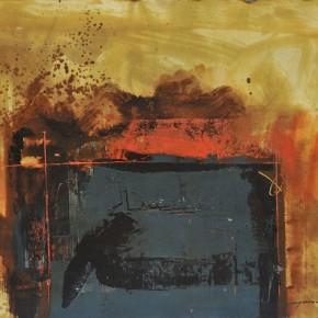 Cheng Xiangjun, Blue Space, 2012; lacquer painting, 40x50cm