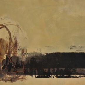 Cheng Xiangjun, Rhythmic Lines 02, 2012; lacquer painting, 40x50cm