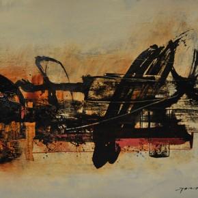 Cheng Xiangjun, Rhythmic Lines, 2012; lacquer painting, 40x50cm