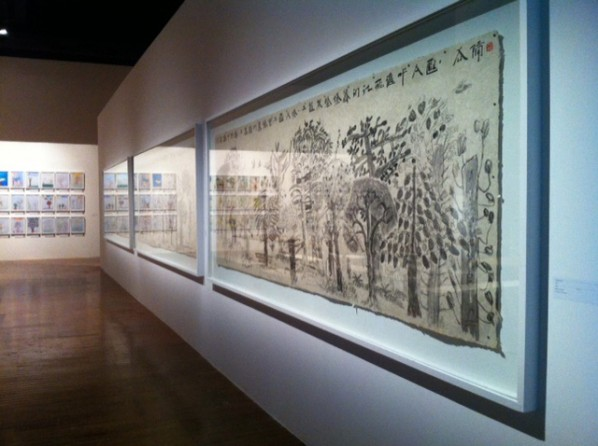 "Exhibition View of Part of Xu Bing's ""Forest Project,"" together with the student artworks at the 30th Sao Paulo Biennial"