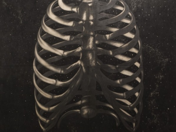 "Omar Galliani, ""Respiro"", 2008; pencil, tempera, wood panel 400x400 cm"