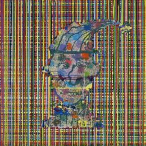 "Ouyang Chun, ""Glaring Clown"", 2010; Color-splash on canvas, 170×170cm"