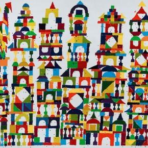 "Ouyang Chun, ""The Building"", 2010; Color-splash on canvas, 205×270cm"