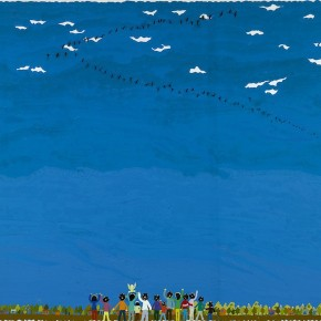"""Ouyang Chun, """"Wild Geese Flew South"""", 2010; Color-splash on canvas, 180×250cm"""