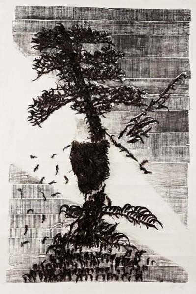 Tui Bei Tu No.61, 2007, Woodcut, 250×360cm