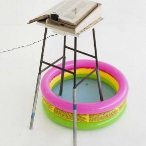 Yang Jian, Reliques of Ancient English Poetry, 2010; Book, Motor, Chip, Remote-control, Wood, Small Sear, Inflatable Pool, Four Iron Pipe, 19x29x11cm