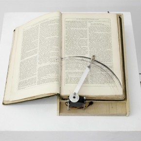 Yang Jian, Reliques of Ancient English Poetry, 2010; Book, Motor, Chip, Remote-control, Wood, Small Sear, Inflatable Pool, Four Iron Pipe, 19x29x11cm_detail