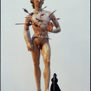 "10 Yu Fan, ""Saint Sebastian"", 2001; FRP and mixed media, 55x79x165cm"