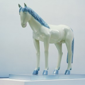 "16 Yu Fan, ""The Silver Mane Horse"", 1999; spray paint on bronze, 160x130x35cm"