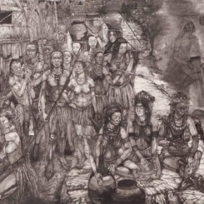 17 Wang Zan, Mysterious Ancient World, 2009; ink on paper, 245cm×732cm
