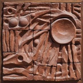 21 Tang Xiaohe, Nv Wa and Fu Xi, 2010; terracotta, 96×195cm