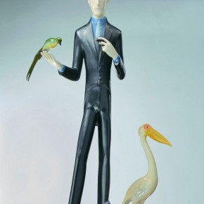 "29 Yu Fan, ""MARCEL DUCHAMP WITH BIRDS"", 2009; copper, spray paint, 153x70x70cm"
