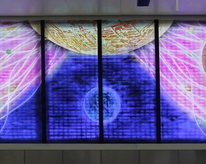 32 Wang Gangqing, Metro Line 9 Fengtai Science Part Station, The Starry Sky of Technology; colored carved glass, panorama (original copy), 100×100cm