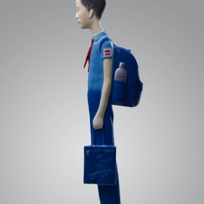 "33 Yu Fan, ""Yu Guo on His Way to School"", 2010; copper, spray paint, 130×35×8cm"