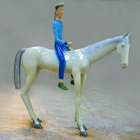 "38 Yu Fan, ""Silver Mane Horse and Sailor"", 2008; FRP spray paint, 242x250x76cm"