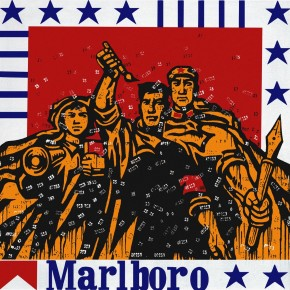 44 Wang Guangyi, Great Criticism Marlboro, 1992; oil on canvas