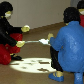 54 War Aesthetic – Person Killing The Virus-carrying Insects; installation