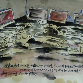 60 Exhibition Sketch of Wang Guangyi's Show, Elementary Education, 2001; 30×26cm