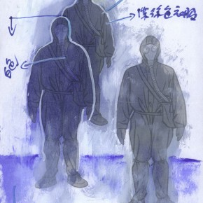 64 Exhibition Sketch of Wang Guangyi's Show, Cold War Aesthetic, 2007; 21×30cm