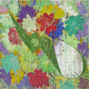 Half Pair of Green Scissors and Flowers, 2010-2011.11; Acrylic and Oil on Canvas, 200×200cm