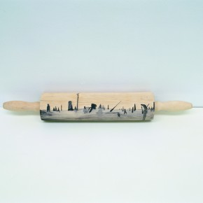 Kang Jianfei-To make a harmonious and orderly home everywhere, 2007; woodcut on rolling pin