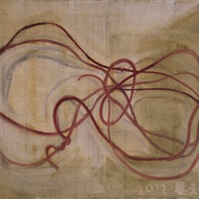 Zhang Enli, Four Meters of Cables, 2012; oil on canvas, 80 x 100 cm