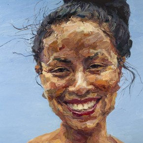 002 Xie Dongming's Work, A Happy Girl; oil on canvas, 80×100cm
