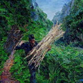 "100 Xie Dongming, ""Woodsman"", 112x14cm"