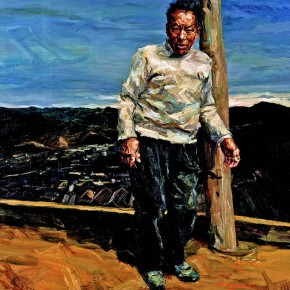 """106 Xie Dongming, """"Man on the Roof"""", 2005; oil on canvas, 200×190cm"""