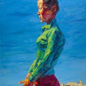 "119 Xie Dongming, ""Homesick Girl"", 2004; oil on canvas, 146×112cm"