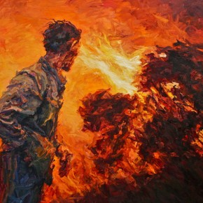 "122 Xie Dongming, ""Prairie Fire"", 2010; oil on canvas, 180×250cm"