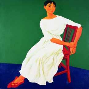 "125 Xie Dongming, ""Portrait with Green Background"", 120x120cm"