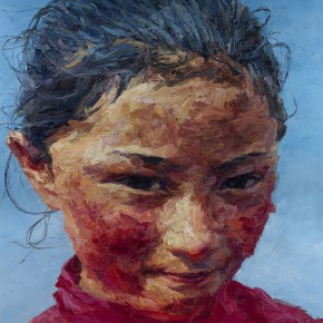 "127 Xie Dongming, ""Portrait of a Girl from Yushu"", 2007; oil on canvas, 200x190cm"