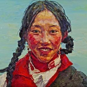 "045 Xie Dongming, ""Tibetan Woman"", 2005; oil on canvas, 80×100cm"
