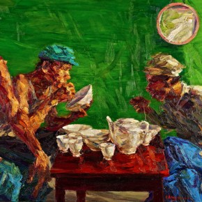 """053 Xie Dongming, """"A Hurried Lunch"""", 2004; oil on canvas, 112×146cm"""