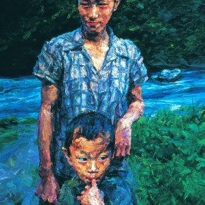 "057 Xie Dongming, ""Brother and Sister Near Dulong River"", 2007; oil on canvas, 250×180cm"