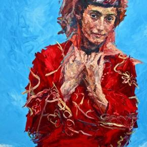 "060 Xie Dongming, ""Tajik Girl in the Wind"", 2011; oil on canvas, 146×112cm"