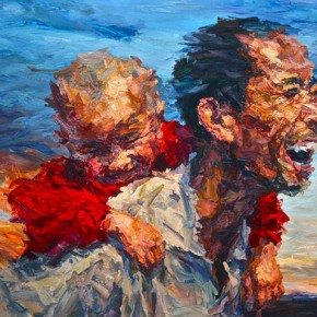 """061 Xie Dongming, """"Father and Son"""", 2010; oil on canvas, 130×190cm"""