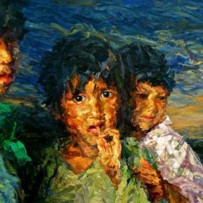"064 Xie Dongming, ""Children"", 2009; oil on canvas, 90×130cm"
