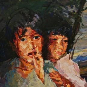 "064 Xie Dongming, ""Children""(detail), 2009; oil on canvas, 90×130cm"
