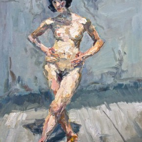 """068 Xie Dongming, """"Naked Woman in the Sunlight of Studio"""", 2009; oil on canvas, 100×80cm"""