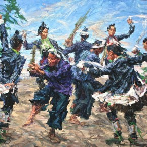 """069 Xie Dongming, """"Cheerful Homeland"""", 2010; oil on canvas, 200×300cm"""